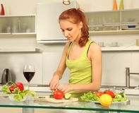 Wine and salad Stock Image