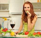 Wine and salad Stock Photography