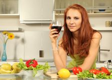 Wine and salad Royalty Free Stock Photo