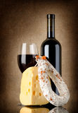 Wine, salami and cheese Royalty Free Stock Photography