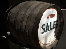 Wine sales barrel. Angled view of old barrel with wine sales on front Royalty Free Stock Images