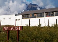 Wine sales sign on wine farm. Wine sales sign next to a building on Boschendal wine farm in Western Cape, South Africa Stock Photo