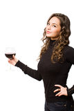 Wine sampling brunette. Royalty Free Stock Photography