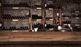 Wine sampling concept. Wooden board before defocused shelfs and barrels.  stock photo