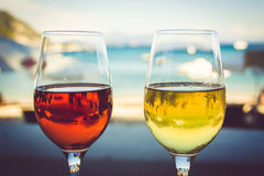 Wine in the sand. Capturing the wine on the beach royalty free stock image