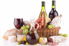 Wine,sausage and bread Stock Photos