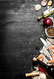 Wine with seafood and spices. Royalty Free Stock Photography