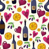 Wine seamless background in vector. Royalty Free Stock Photo