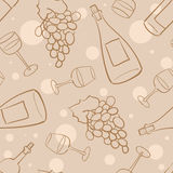 Wine seamless pattern - 2. Seamless pattern with grapes, wine bottles and glasses with wine Stock Photos