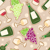 Wine seamless pattern. Seamless pattern with grapes, wine bottles and glasses with red and white wine Stock Images