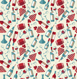 Wine seamless pattern with biootle and glass. Stock Images