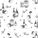 Wine seamless pattern on white background. Wine seamless pattern with botles, glasses, grapes and wine cask stock illustration