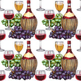 Wine seamless pattern. Hand-drawn pattern with wine bottle stock illustration