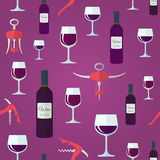 Wine seamless pattern. Red wine flat design seamless pattern Royalty Free Stock Photos