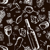 Wine seamless pattern. Vector texture in hand draw style Stock Photo