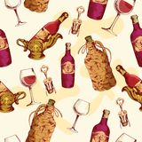 Wine seamless pattern Stock Photography