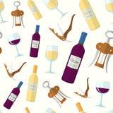 Wine seamless pattern Stock Photography