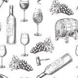 Wine seamless vector pattern. Sketch hand drawn illustration of bottle, glasses, grape vine, barrel, corkscrew. royalty free illustration