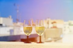 Wine served on luxury balcony in Europe. Wine served on luxury balcony in Malta, Europe Royalty Free Stock Images