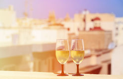 Wine served on luxury balcony in Malta. Europe Royalty Free Stock Image