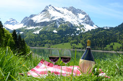 Wine served at a picnic in Alpine meadow. Switzer Royalty Free Stock Image