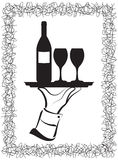 Wine Serving. Waiter's hand serving wine Royalty Free Stock Image