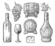 Wine set. Bottle, glass, barrel, cheese, bunch of grapes with berry and leaf. Black vintage engraved illustration isolated on white background. For label stock illustration