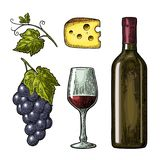 Wine set. Bottle, glass, cheese, bunch of grapes Stock Photo