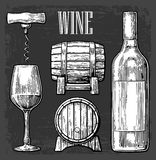 Wine set. Bottle, glass, corkscrew, barrel. Black vintage engraved  illustration  on gark background. For label post Royalty Free Stock Images