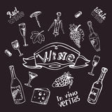 Wine set on chalk board Stock Images