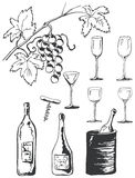 Wine set doodles Royalty Free Stock Photography