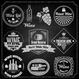 wine set elements chalkboard Royalty Free Stock Images