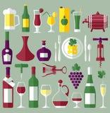 Wine set flat icons Stock Photo
