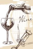 Wine set. Hand drawn image of wine bottle with glass and corkscrew on background with cask royalty free illustration