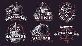 Wine set logo - vector illustrations, emblems on dark background stock illustration
