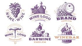 Wine set logo - vector illustrations, emblems stock illustration