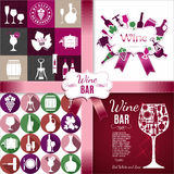 Wine Set Of Layout For Menu, Restaurant, Bar. Vector Set. Royalty Free Stock Photography