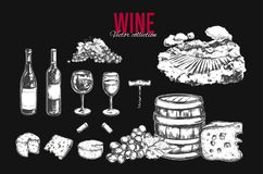 Wine set. Vector. Hand drawn elements including wine glass, bottle, grape, vineyard landscape, cheese, barrel with wine. Sketch style Stock Image