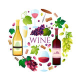 Wine set vector. Royalty Free Stock Images