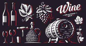 Wine set vector illustrations on dark background vector illustration