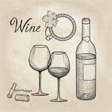 Wine set. Wine glass, bottle, grape branch, handwritten letterin Stock Photos