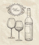 Wine set. Wine glass, bottle, lettering. Cafe menu. Wine card sk Stock Photography