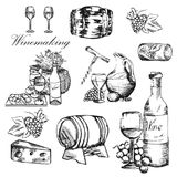 Wine set. Winemaking products in sketch style. Alcoholic drink. Vector wallpaper background with hand drawn wine bottle. Vector wallpaper background with hand royalty free illustration