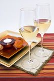 Wine setting and candle Stock Image