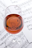 Wine and Sheet Music Royalty Free Stock Images