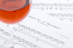 Wine and Sheet Music Royalty Free Stock Photography