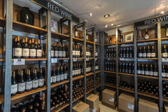 Wine shelf Stock Images