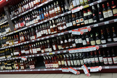 Wine shelves Royalty Free Stock Photography
