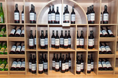 Wine shelves in shop Royalty Free Stock Photography