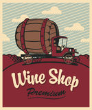 Wine shop. Banner for wine shop with a vintage car with a barrel Royalty Free Stock Photography